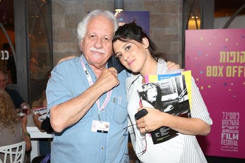 Israel Film Fund's Katriel Schory with JFF's Noa Regev at the Gett premiere